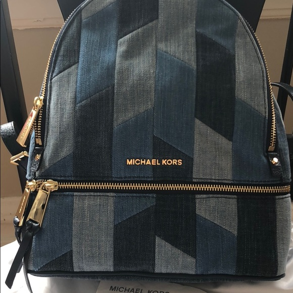 eaf6546ae07d Michael Kors Bags | Mk Rhea Medium Mosaic Patchwork Denim Backpack ...